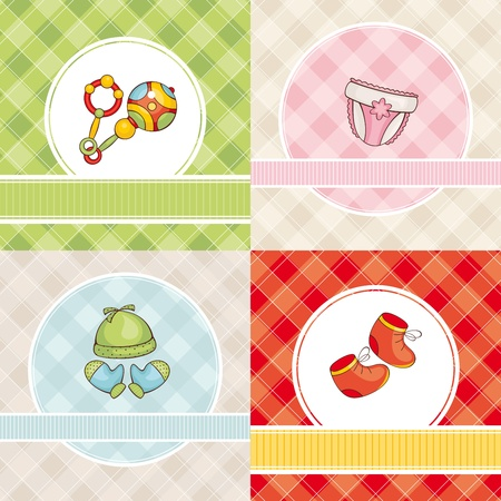 rattle: abstract set of cute vector baby cards