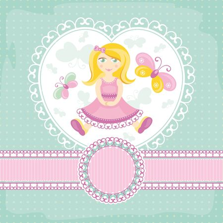 abstract baby card with girl. Vector