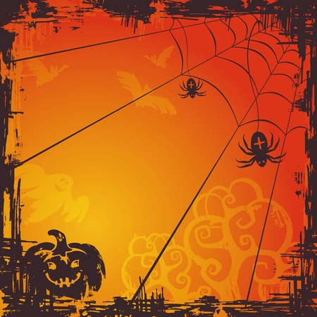 halloween background: abstract autumn cartoon Halloween background . Illustration