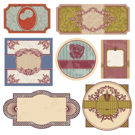 art deco border: set of retro vintage labels. Illustration