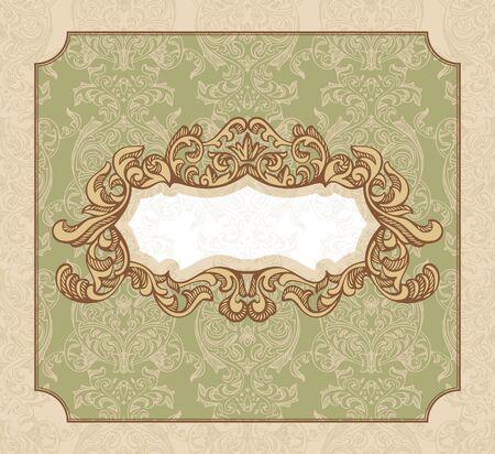 royal wedding: abstract royal floral vintage frame illustration