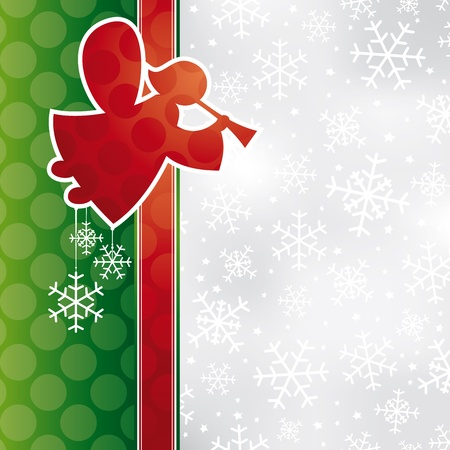 abstract Christmas card with angel illustration