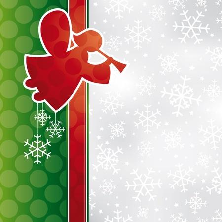 천사 일러스트와 함께 추상 크리스마스 카드 일러스트