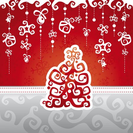 Christmas card with abstract tree illustration Vector