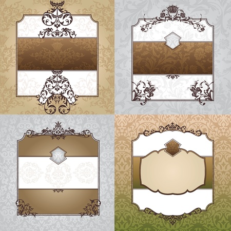 set of abstract decorative vintage frames Stock Vector - 10761190