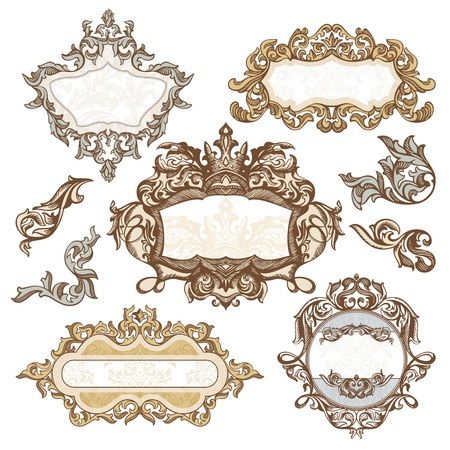 royal invitation: set of royal vintage frames illustration