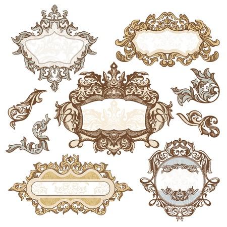 set of royal vintage frames illustration