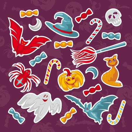 set of abstract Halloween icons illustration Vector