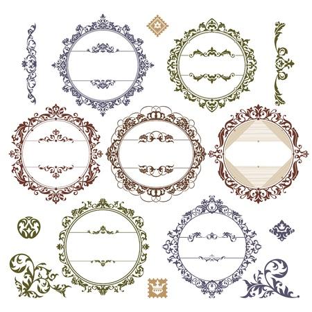 Conjunto de marcos reales de la vendimia. Ilustración de vector