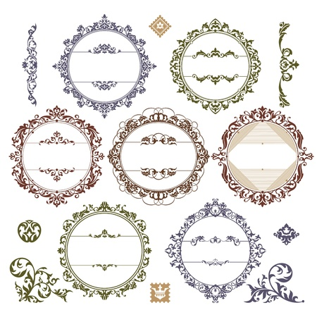 Set of royal vintage frames. Vector