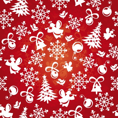 Abstract seamless red christmas background. Vector