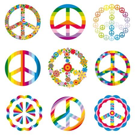 Set of abstract peace symbols.  イラスト・ベクター素材