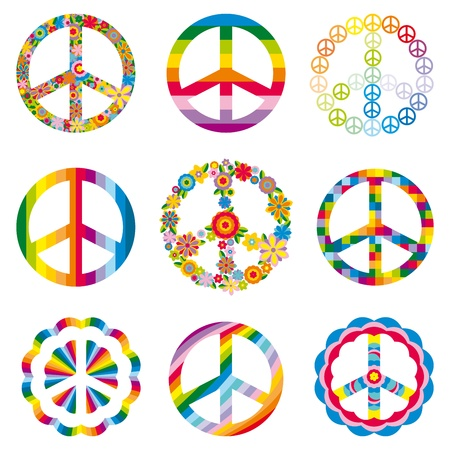 simbolo de paz: Conjunto de símbolos de la paz abstracta. Vectores