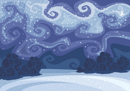 Abstract beautiful winter night landscape. Vector