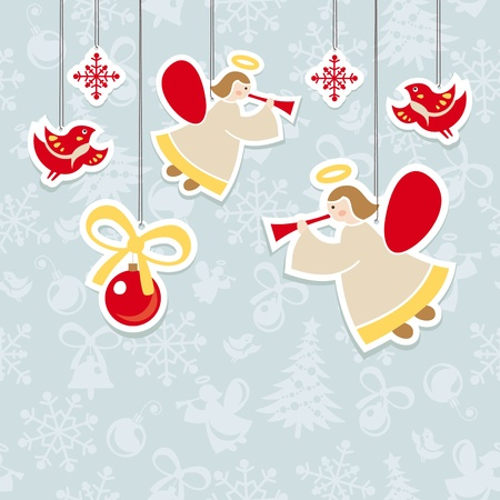 angel tree: abstract christmas ornate cute card vector illustration Illustration