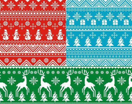 set of abstract vector seamless christmas backgrounds Vector