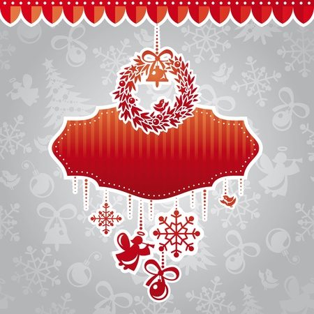 abstract christmas ornate cute frame vector illustration Vector