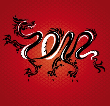 abstract new year dragon card illustration Vector