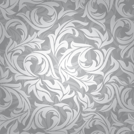 abstract seamless silver floral background illustration Vector