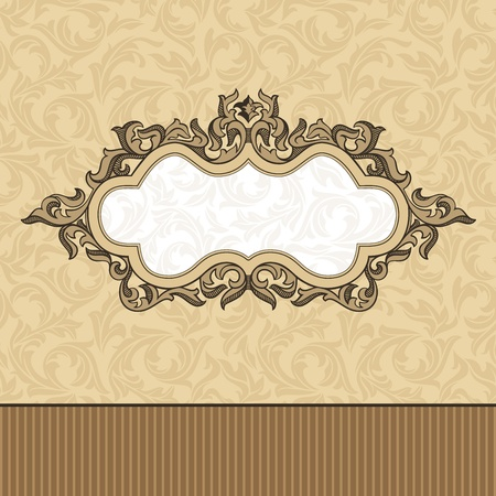 abstract retro vintage floral frame illustration Vector