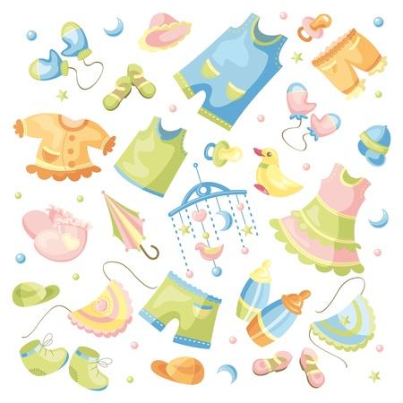 ensemble de vecteurs de vêtements et accessoires pour bébés