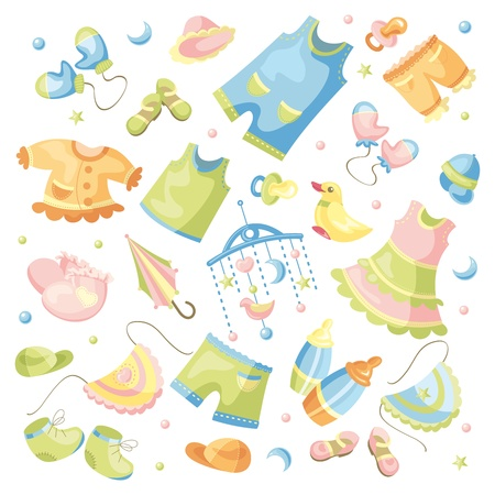 good shirt: vector set of baby clothing and accessories
