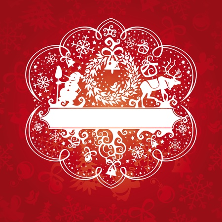 abstract cute ornate christmas card vector illustration Vector