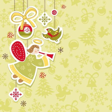 抽象的なクリスマス素敵なかわいいカード ベクトル イラスト 写真素材 - 11403248