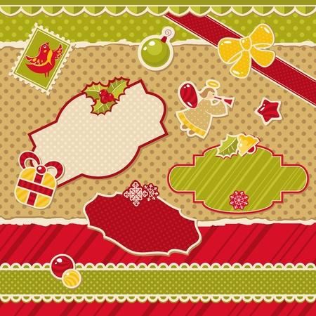 birthday angel: abstract cute christmas design elements vector illustration