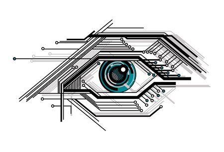 printed circuit board: abstract conceptual tech stylized eye vector illustration
