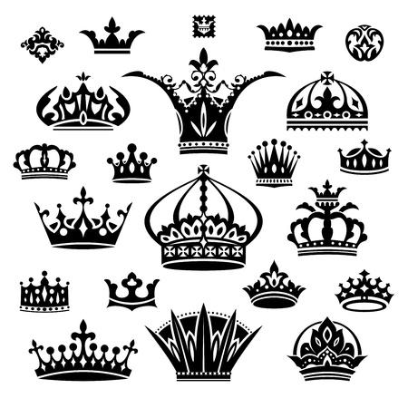 corona rey: conjunto de negro ilustración vectorial diferentes coronas