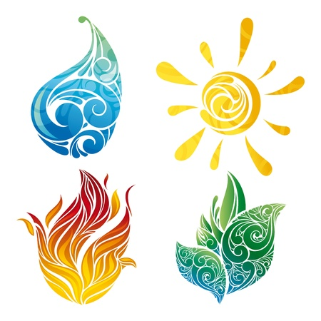 drops of water: sun, leaf, water and fire symbols in illustration Illustration