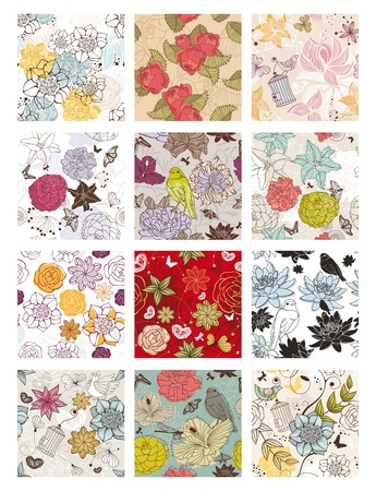 abstract vector set of seamless floral background