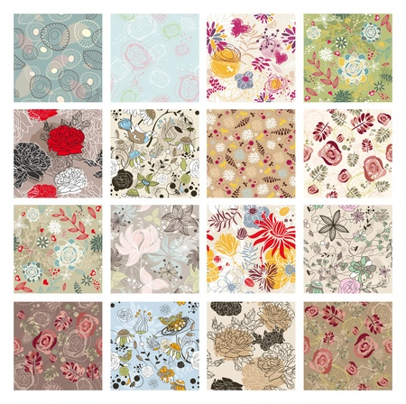 floral heart: abstract vector set of seamless floral background