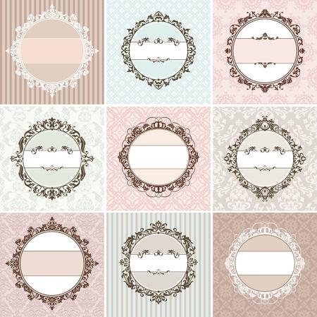 set of vintage floral frame vector illustration  イラスト・ベクター素材
