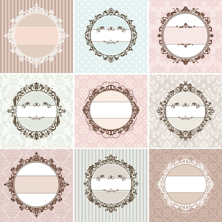 set of vintage floral frame vector illustration Vector