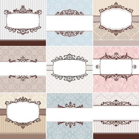 round frame: set of vintage floral frame vector illustration Illustration
