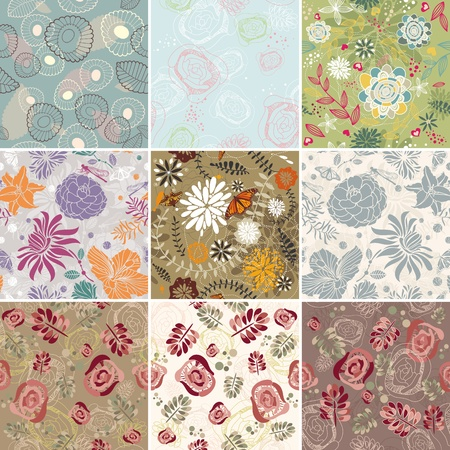 set of seamless floral background vector illustration Vector