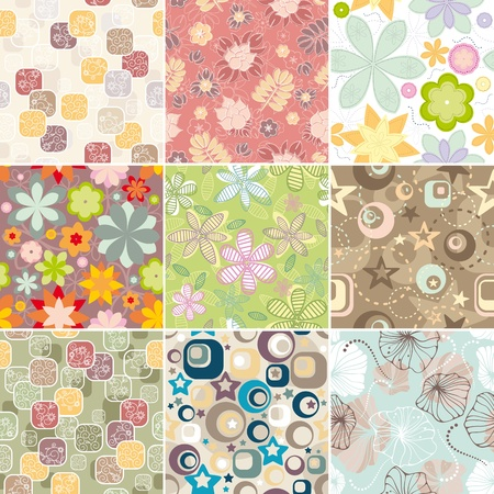 set of seamless floral pattern vector illustration