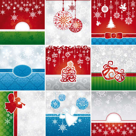 snowdrift: Set of different Christmas card vector illustration