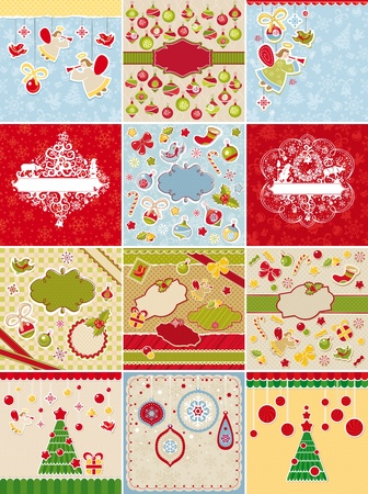 set of Christmas cards and design elements vector illustration Vector