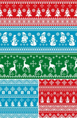 set of abstract vector seamless Christmas patterns Vector