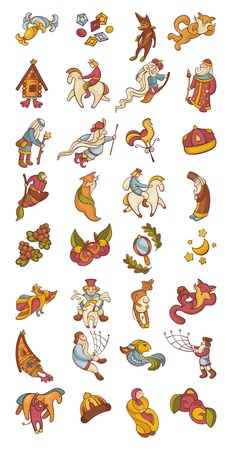 big set of fairytale characters and items vector illustration Vector