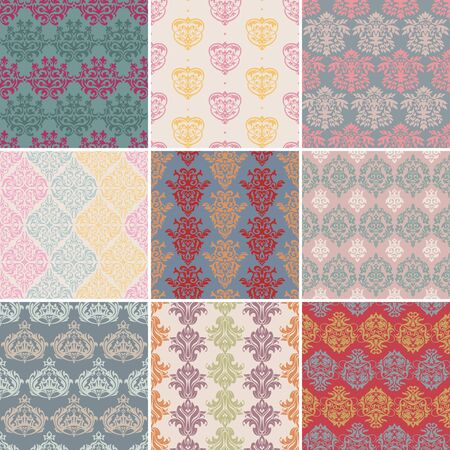 set of seamless retro background vector illustration Stock Vector - 13301146