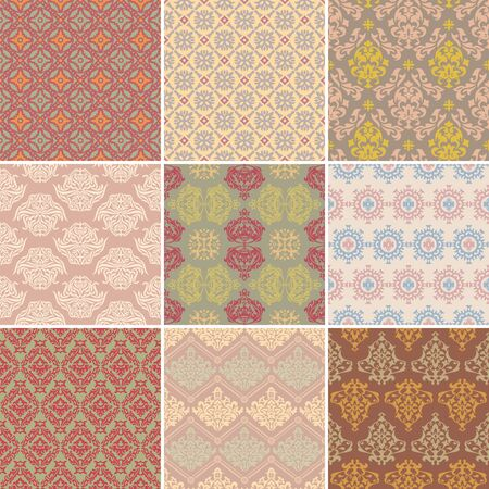 set of seamless retro background vector illustration Vector