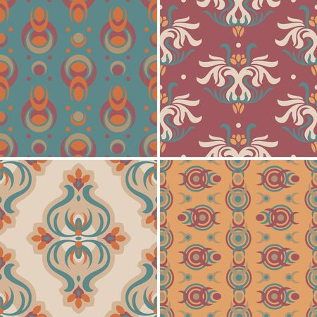 set of abstract seamless pattern illustration Vector