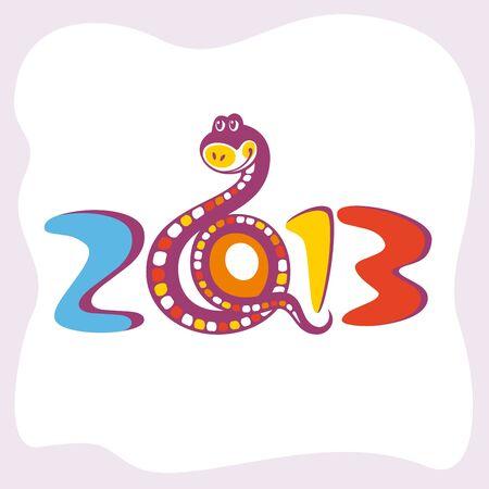 snake year: tarjeta abstracta del A�o Nuevo con la ilustraci�n vectorial gracioso serpiente
