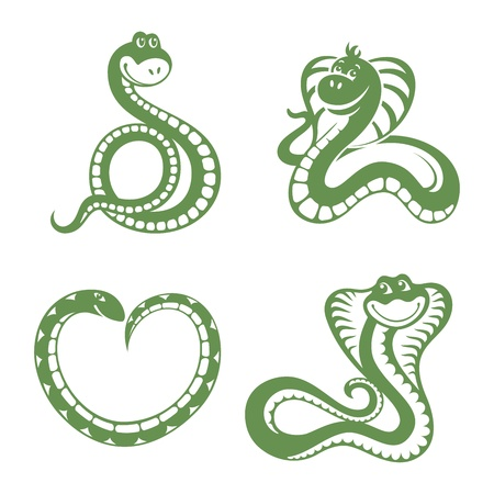 year of snake: set of funny snakes vector illustration