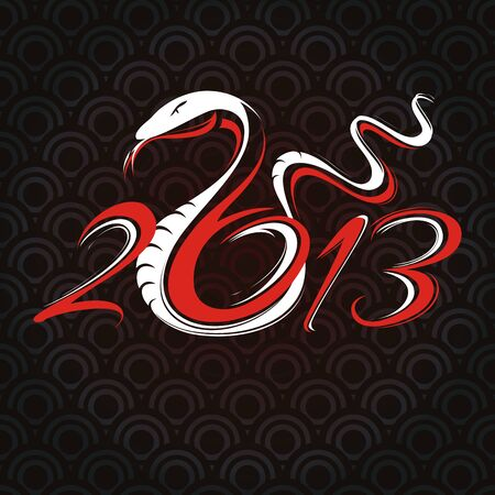 year of snake: new year card with snake vector illustration Illustration