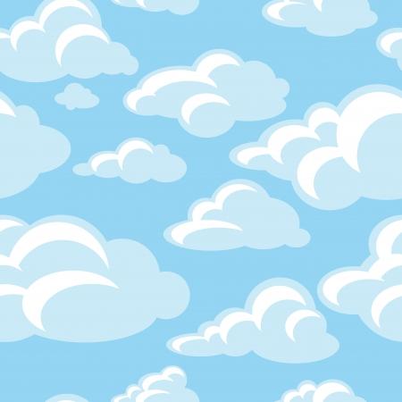 nubes caricatura: abstracto decorativo de fondo sin fisuras patrón de ilustración vectorial